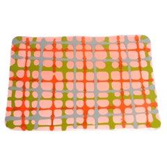 Set of 4 Tartan Placemats Light Ruby, Matt Orange, Green, Grey by Paola Navone