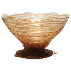 Ogiva Large Resin Basket in Clear and Amber by Gaetano Pesce