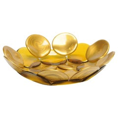 Circle Small Resin Basket in Matt Gold and Clear Amber by Enzo Mari