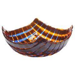 Net Medium Resin Basket in Clear Cobalt Blue and Clear Orange by Enzo Mari