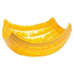 Net Medium Resin Basket in Clear Yellow and Matt Yellow by Enzo Mari
