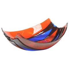 Stripe Large Resin Basket in Clear Dark Ruby and Blue by Enzo Mari