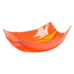 Stripe Small Resin Basket in Clear Orange and Matt Orange by Enzo Mari