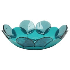 Circle Small Resin Basket in Clear Aqua and Matt Turquoise by Enzo Mari