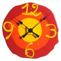 Watch Me Large Clock in Matt Red, Orange and Yellow by Gaetano Pesce