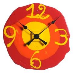 Watch Me XL Clock in Matt Red, Orange and Yellow by Gaetano Pesce