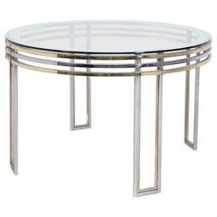 Italian Dining Table by Romeo Rega in Brass, Steel and Art Glass