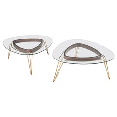 Banano Occasional Table M, Walnut Frame, Glass Top, Designed by Nigel Coates