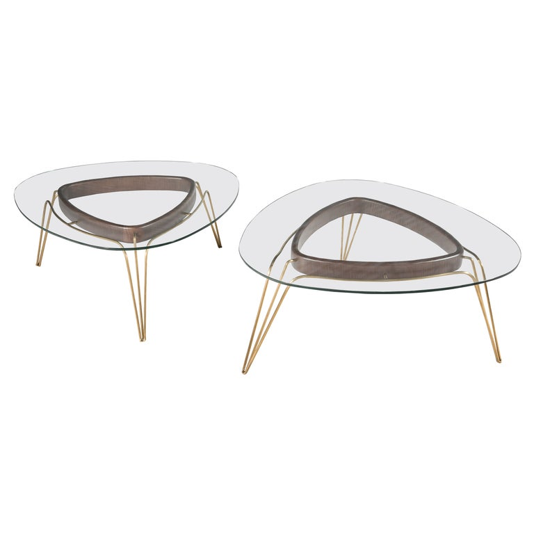 Banano Occasional Table M, Walnut Frame, Glass Top, Designed by Nigel Coates For Sale