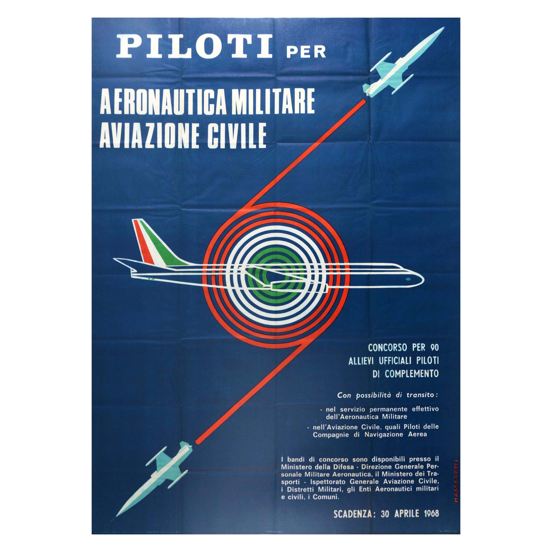 Original Vintage Poster Pilot Recruitment Civil Aviation Italy Air Force Piloti