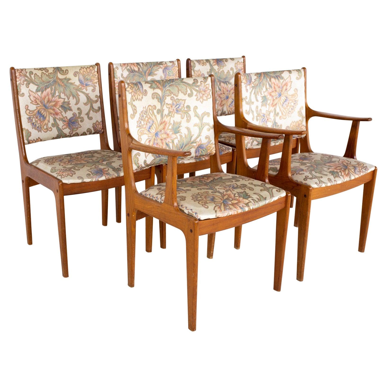 Mid Century Teak Dining Chairs, Set of 5
