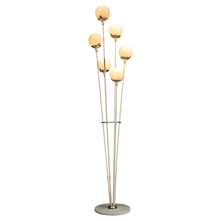 """""""Alberello"""" Floor Lamp in Carrara Marble and lacquered Metal, Italy, 1960's For Sale"""