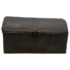 18th Century Leather Dome Top Trunk