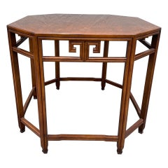Vintage Chinoiserie Octagon Burlwood Table by Baker