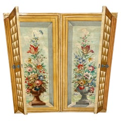 Hand Painted Pair of Trompe L'oeil Wood Wall Plaques