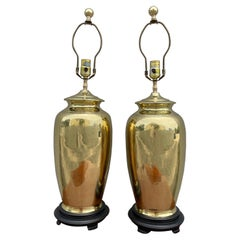Pair of Vintage Brass Ginger Jar Lamps by Chapman