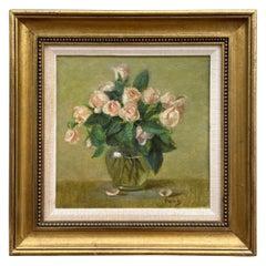 """ Pink Roses "" Original Oil Painting by Richard Pionk"