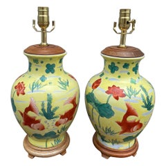 Pair of Chinese Yellow Ginger Jar Lamps with Coy Fish