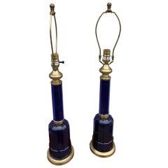 Pair of Cobalt Blue Glass & Brass Lamps by Vaughan