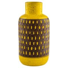 Bitossi Vase, Ceramic, Yellow, White, Brown, Signed