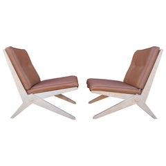 Pair of Scissor Chairs, Model 92, by Pierre Jeanneret for Knoll