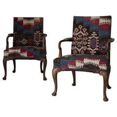 Armchairs English 19th Century Dark Brown Kelim Rug Upholstery England