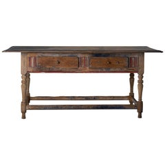 Table Swedish Rustic 19th Century Blue Red Original Paint Wood, Sweden