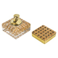 1970s Lucite, Rattan and Brass Smoking Set Lighter and Box