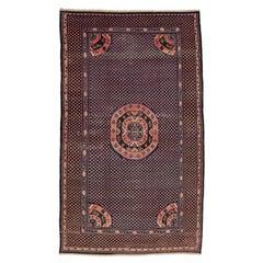 Rare Antique Blue Kansu Oversize Carpet with Mandala Roundel and Infinite Discs