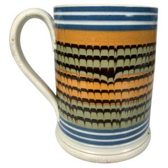 Large Mochaware Mug with Rare Combed Down Rows of Slip
