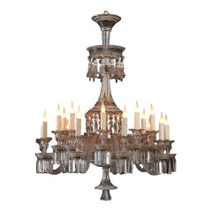 Opalescent Crystal Chandelier Attributed to Baccarat, France, Circa 1890