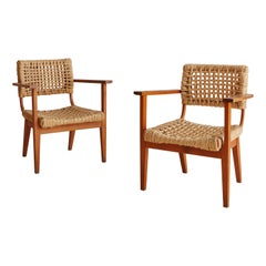 Pair of Audoux + Minet Rope and Wood Lounge Chairs