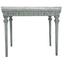 18th Century Light-Green Swedish Gustavian Freestanding Pinewood Tray Top Table