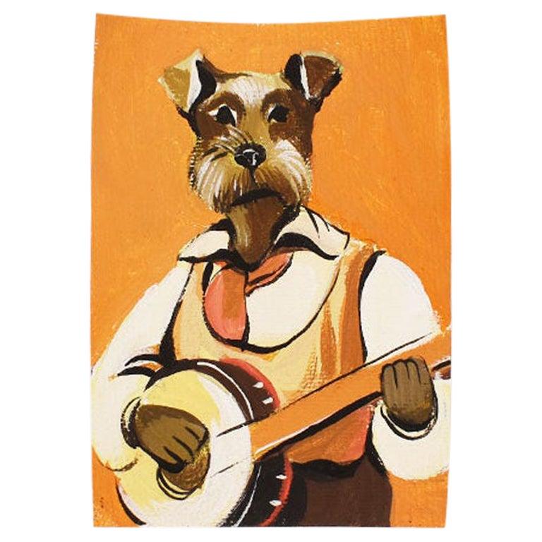 Surrealism Portrait Painting of a Schnauzer Dog with Banjo, 21st Century
