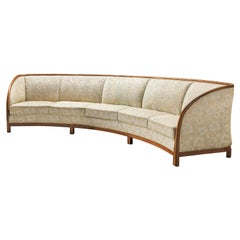Large Curved Danish Sofa in Light Fabric Upholstery