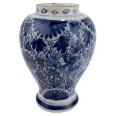 Antique 18th Century Dutch Delft Pottery Jar or Vessel