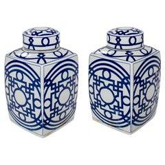 Pair of Asian White Glazed Porcelain Urns w/ Blue Geometric Decorations & Lids