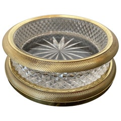 Dore Bronze & Cut Crystal French Wine Coaster