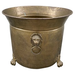 Large Footed Brass Planter with Lion Head Handles