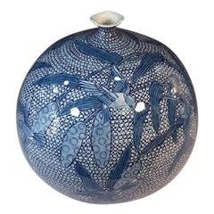 Japanese Blue White Porcelain Vase by Contemporary Master Artist