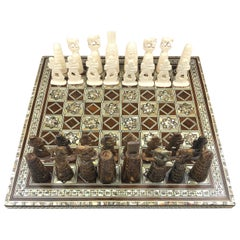 Micro Mosaic Syrian Style Wooden Inlaid Marquetry Chess Set