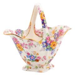 English 1952 Vintage Royal Winton Porcelain Basket with Colorful Floral Décor