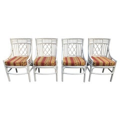 Set of Four Chinese Chippendale Rattan Chairs