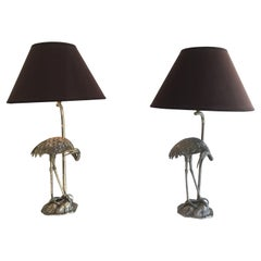 Maison Bagués, Pair of Silvered Herons Lamps, French, Circa 1940