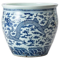 Large Blue and White Porcelain 'Dragon' Fishbowl, Chinese, 19th Century