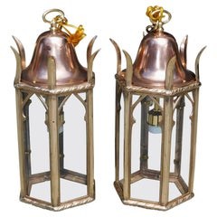 Pair of American Dome Copper and Brass Decorative Hanging Hall Lanterns, C. 1850