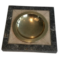 Neoclassical Style Faux-Marble and Brass Vide-Poche, French, circa 1970