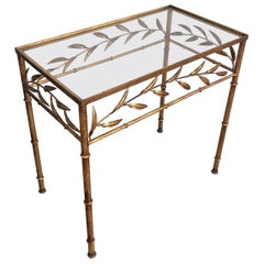 Gilt Metal Small Table with Leaves and Faux-Bamboo Feet