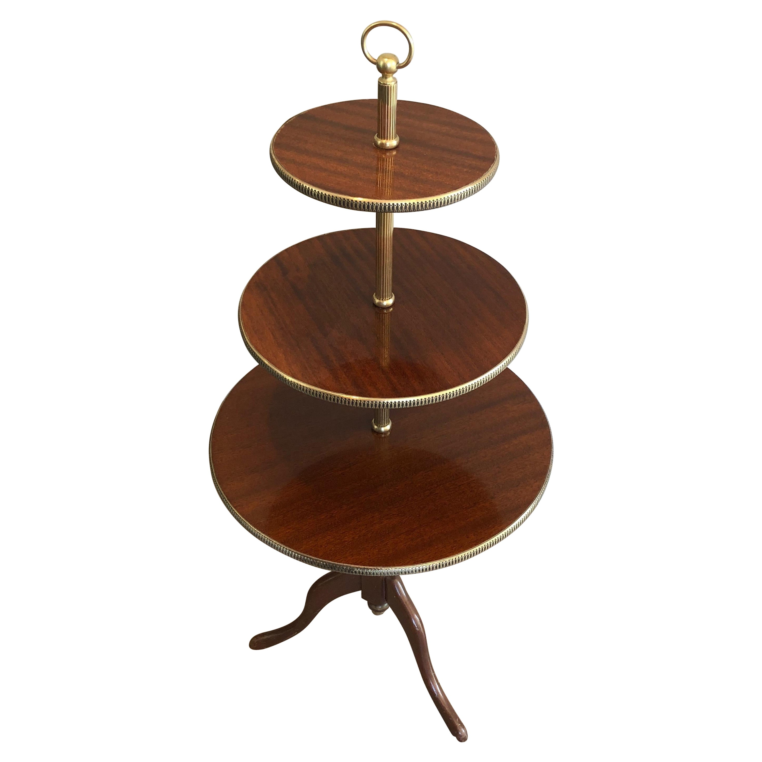 Neoclassical Style 3 Tiers Mahogany and Brass Round Table, French, Circa 1940