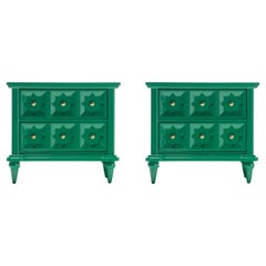 Pair of Hollywood Regency Moroccan Modern Nightstands in Green Lacquer, c. 1965